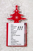 Christmas shopping list in german letters. Xmas organizer for gi — Zdjęcie stockowe