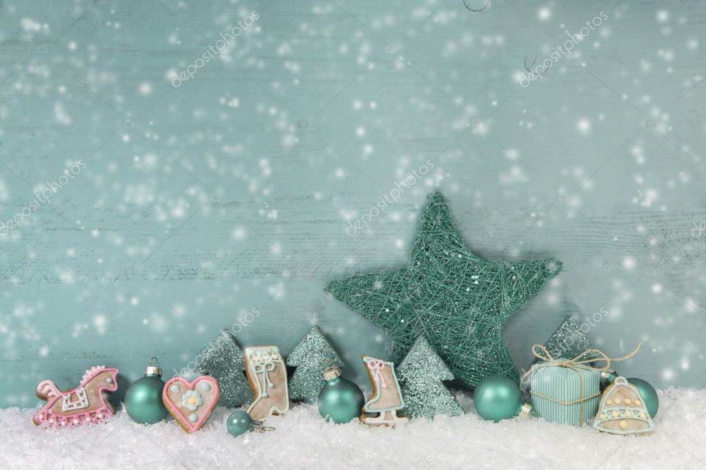 Wooden christmas background in green or turquoise. Shabby chic. — Stock Photo © Jeanette.Dietl ...