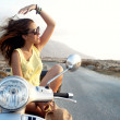 Young female in motorcycle trip — Stock Photo