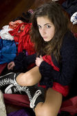 Teenager in her messy room — Stock Photo
