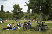 People at Mauerpark in Berlin, Germany — Stock Photo