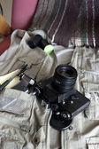 Photo reporter's vintage gear — Stock Photo