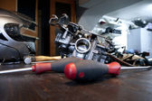 Tools and carburetor — Stock Photo