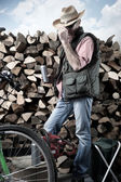 Lumberjack with chainsaw — Stock Photo