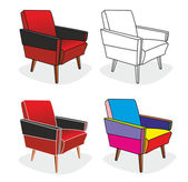 Different old arm chairs — Stockvektor