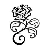 Black and white rose with thorns — Stock Vector