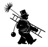Chimney sweeper at work — Stockvektor