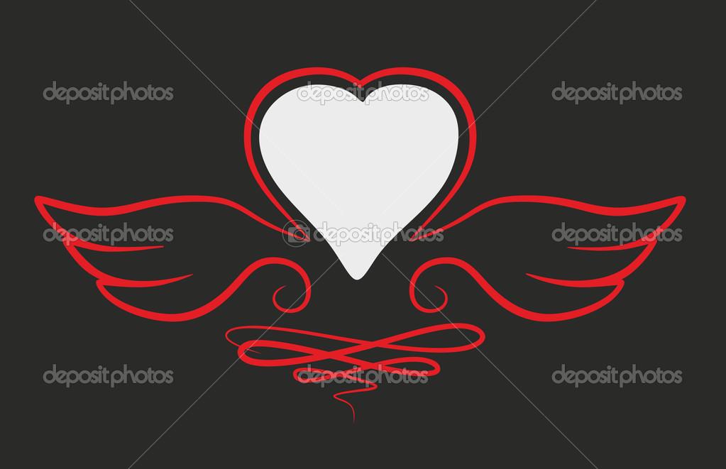 心与翅膀点缀装饰元素– 图库图片