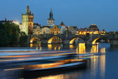Charles bridge in the evening — Stock Photo