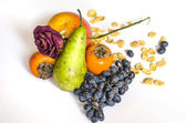 Healthy eating fruits cornflakes — Stock Photo