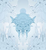 Robot techno aliens space background — Stock Vector