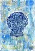 Seashell pectinidae art painting — Stock Photo