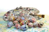 Easter eggs brush palette — Stock Photo