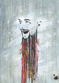 Paint beard creative artist — Stock Photo