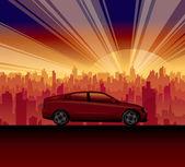 Travel car city sunrise — Stock Vector