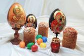 Easter eggs cake Jesus Christ Saint Nicholas Holy Mary — Stock Photo
