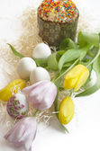 Easter egg cake tulip — Stock Photo