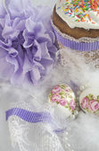 Easter egg cake fluff beads — Stock Photo