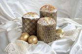 Laço de tecido de bolo de ovo de páscoa — Fotografia Stock