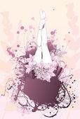 Body flower girl feet background — Stock Vector