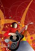Musician with unusual guitar Dj Party — Stock Vector
