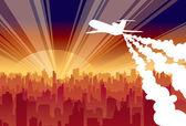Plane city dawn — Stock Vector