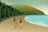Family beach people mountains sea — Stock Vector