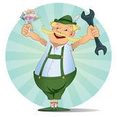 German Bavarian Happy Mechanic money — Stock Vector
