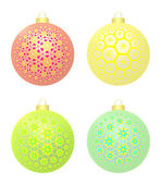 Four Christmas Balls With Stars — Stock Photo