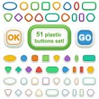 Set of 51 geometric 3d plastic buttons — Stock Vector