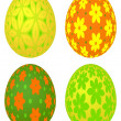 Set of four colored Easter eggs with vivid floral pattern — Stock Photo
