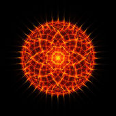 Flame tongues mandala on black background — Stockfoto