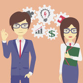 Work couple — Stock Vector