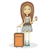 Traveler girl — Vettoriale Stock
