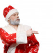 Santa Claus shows his hand to the right, a white background — Stock Photo
