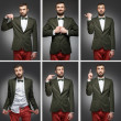 Collage of a young man with emotion, is showing signs of up, dow — Foto Stock