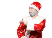 Santa Claus shows his hand to the left, a white background — Stock Photo