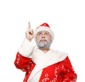 Babbo natale dimostra la sua mano, sfondo bianco — Foto Stock