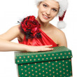 Santa girl with gift — Stock Photo