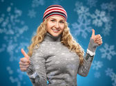 Happy girl with thumbs up. — Stock Photo