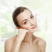 Beautiful girl sitting in tranquility. SPA concept. Skin Care. Y — Foto de Stock
