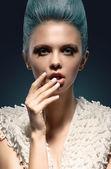 Fashion Art Portrait Of Beautiful Girl. Vogue Style Woman — Stock Photo