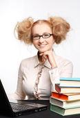 Beautiful girl with glasses working on computer — Stock Photo