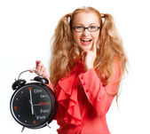 Smiling Beautiful girl with a big clock — Stock Photo