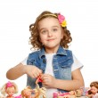 Little girl playing with dolls. — Stock Photo #40853213