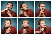 Collage of portraits: Man who shaves his beard with a trimmer — Stock Photo