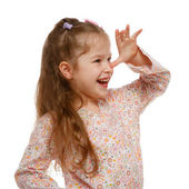 Little girl on the move. Cheerful, positive. — Stock Photo