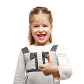 Little girl showing OK sign — Photo