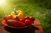 Fresh healthy vegetables on a wooden table. — Stock Photo
