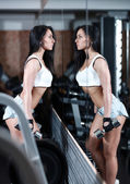 Girl with dumbbells in the gym in front of the mirror stands — Stok fotoğraf